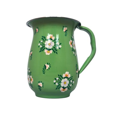 Green Sage Hand Painted Enamel Jug