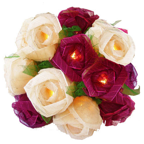 Burgundy/Cream Roses String Lighting