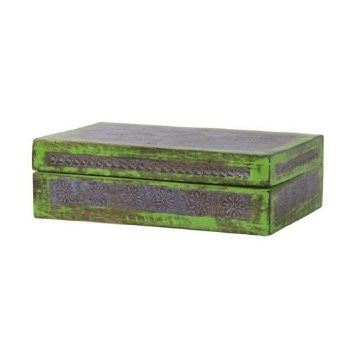 Carved Wooden Box in Lavender and Green