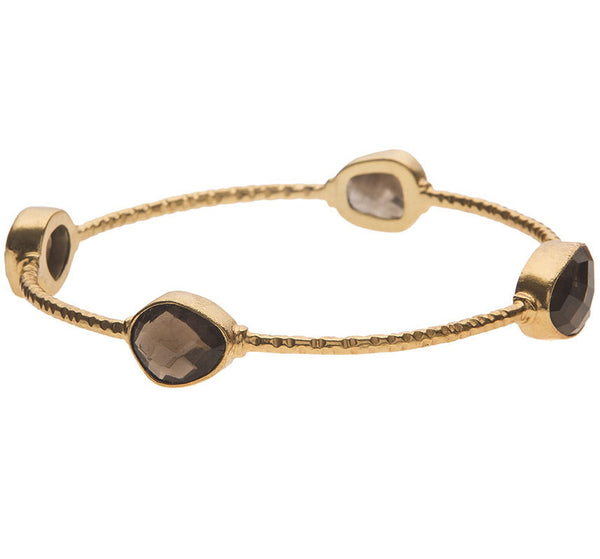 Chunky Smoky Quartz Stone Bangle