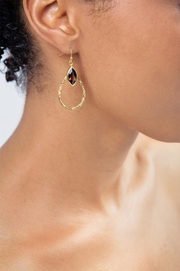 Smoked Quartz Teardrop Hoop Earrings