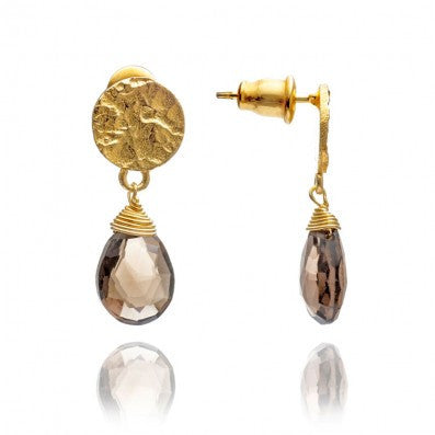 Gold Plated Smoky Quartz Drop Earrings