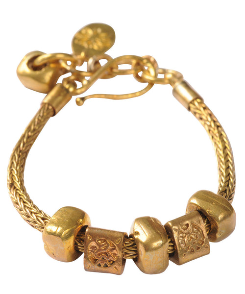 Brass Snake Chain Bracelet with Solid Pebbles