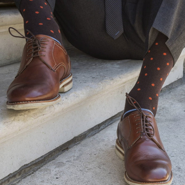 Orange Spot Striped Mens Socks