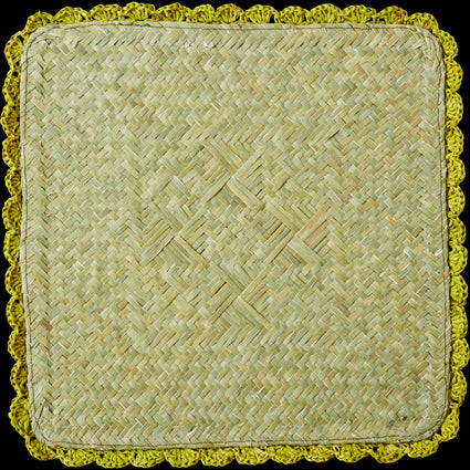 Chartreuse Square Raffia Trivet with Crochet Border
