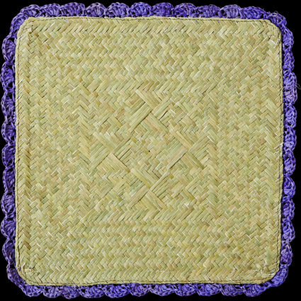 Blue Square Raffia Trivet with Crochet Border
