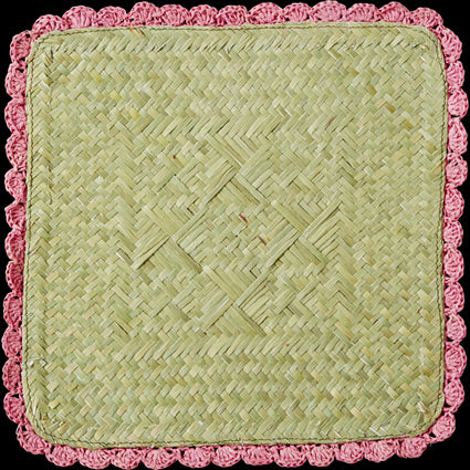 Pink Square Raffia Trivet with Crochet Border
