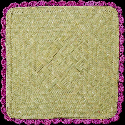 Purple Square Raffia Trivet with Crochet Border