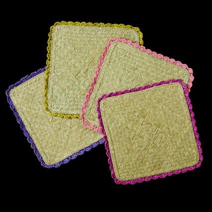 Square Raffia Trivets with Crochet Borders