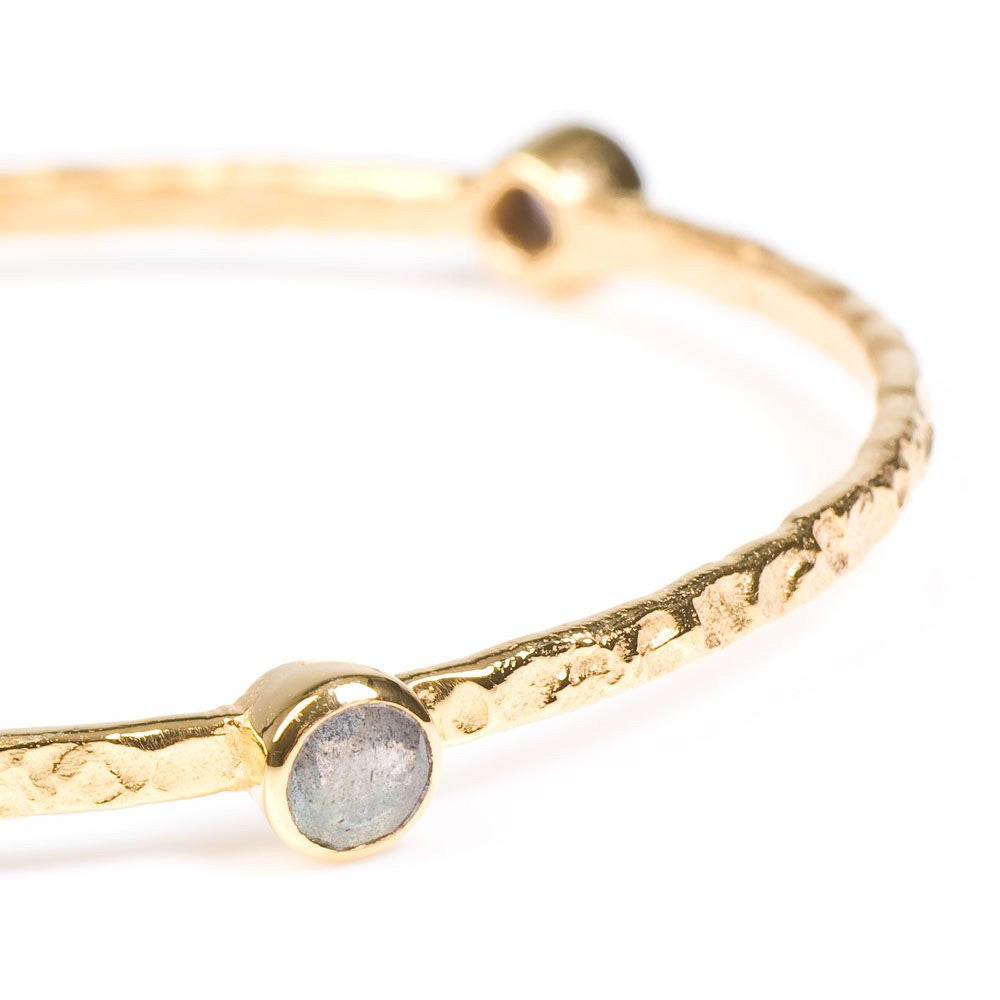 Labradorite Gold Plated Stacking Bangle