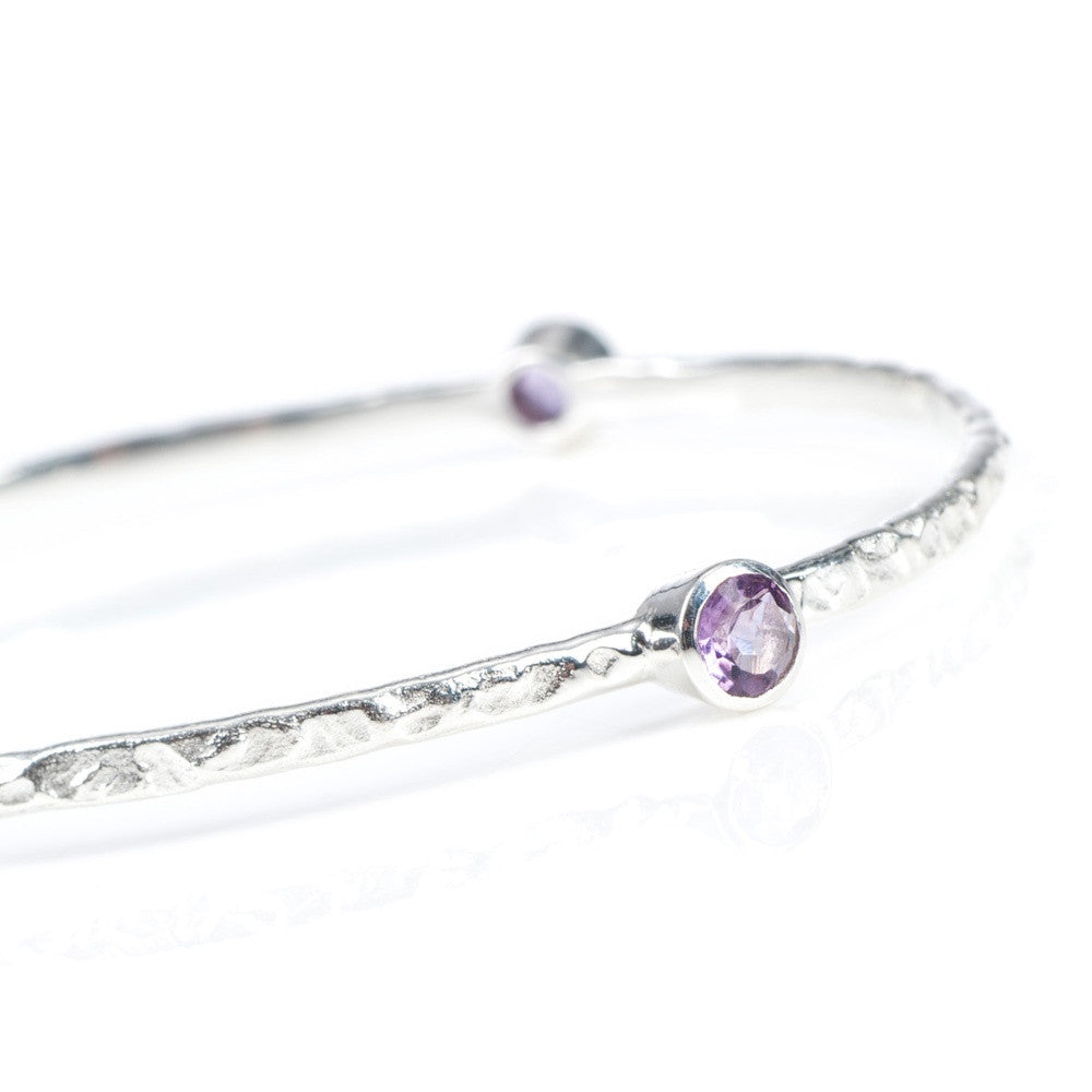 Amethyst Silver Stacking Bangle