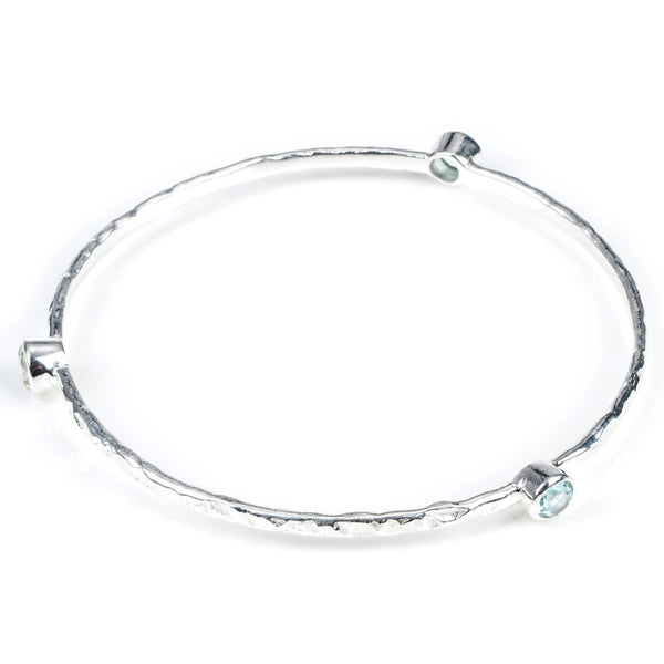 Blue Topaz Silver Stacking Bangle