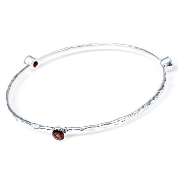 Garnet Silver Stacking Bangle