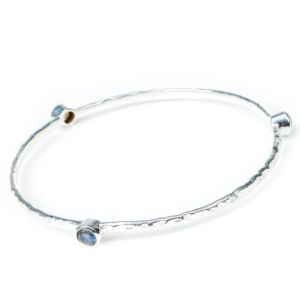 Labradorite Silver Stacking Bangle