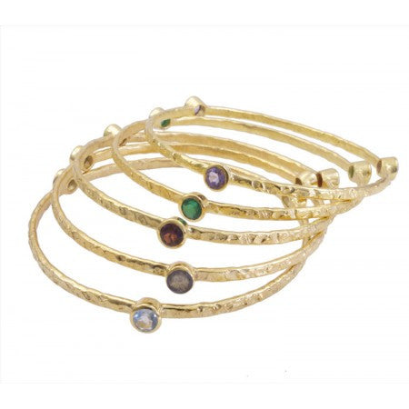 5 Gold Plated Semi-Precious Bangles