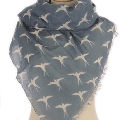 Cadet Blue Swallows Print Scarf