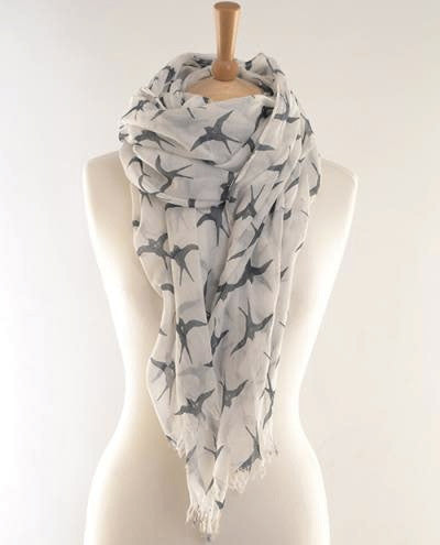 Grey Swallows Print Scarf