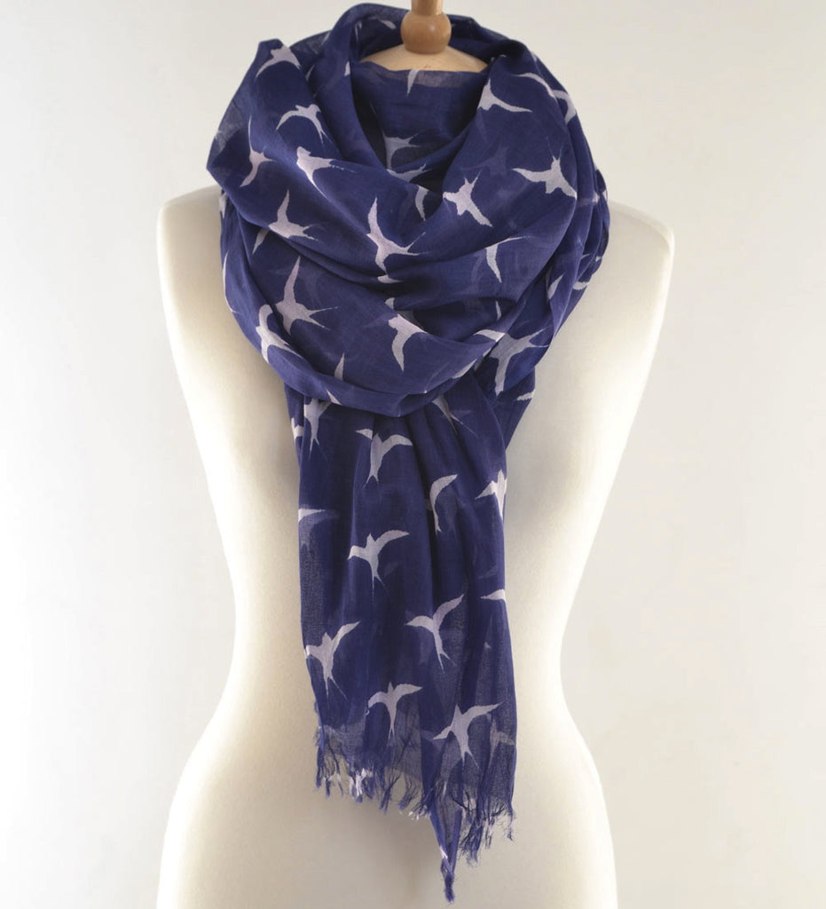 Blue Navy Swallows Print Scarf