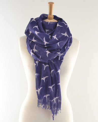Navy Swallows Print Scarf