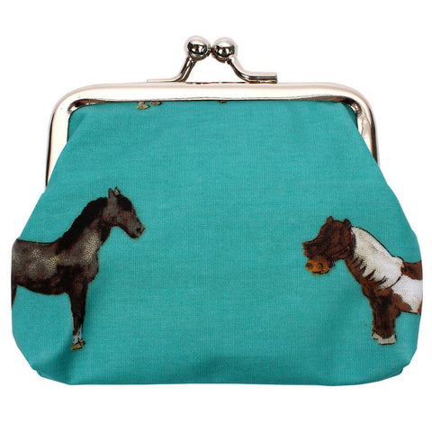 Teal Coin Purse Horses