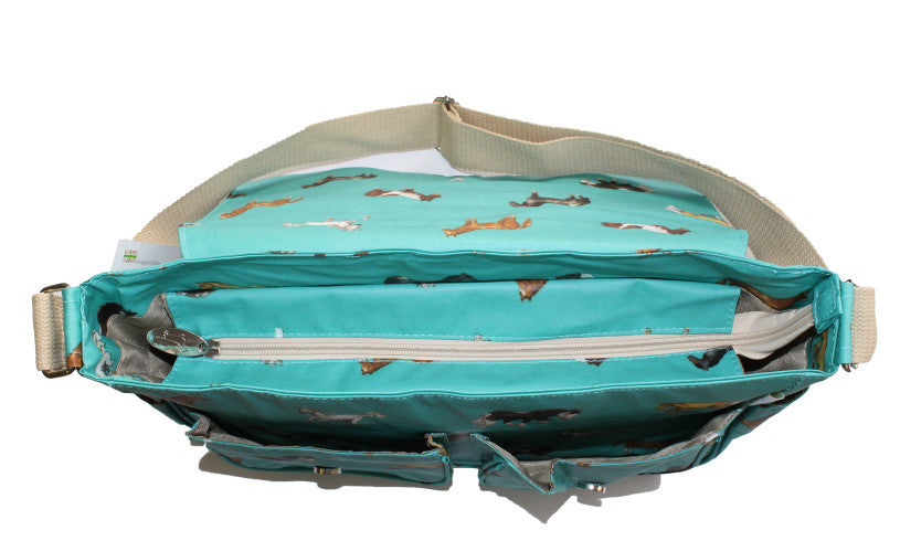 a89d7d1513 ... Satchel or School Bag - Aqua Horses  Teal Horse Saddle Bag ...