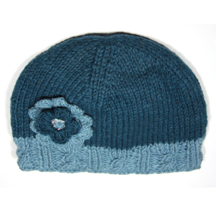 Teal Woollen Hat with Flower