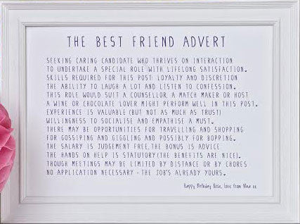 Bespoke Verse Best Friend Advert Poem Print Indigo