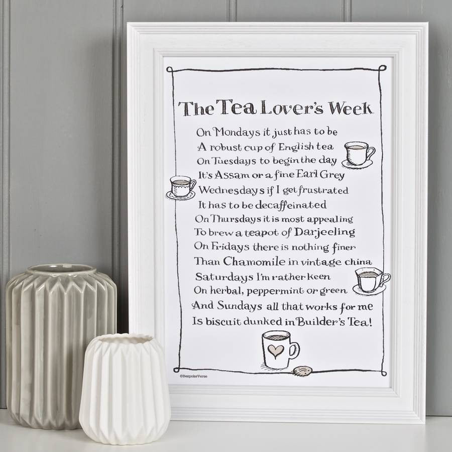 Poem Print - The Tea Lover's Week