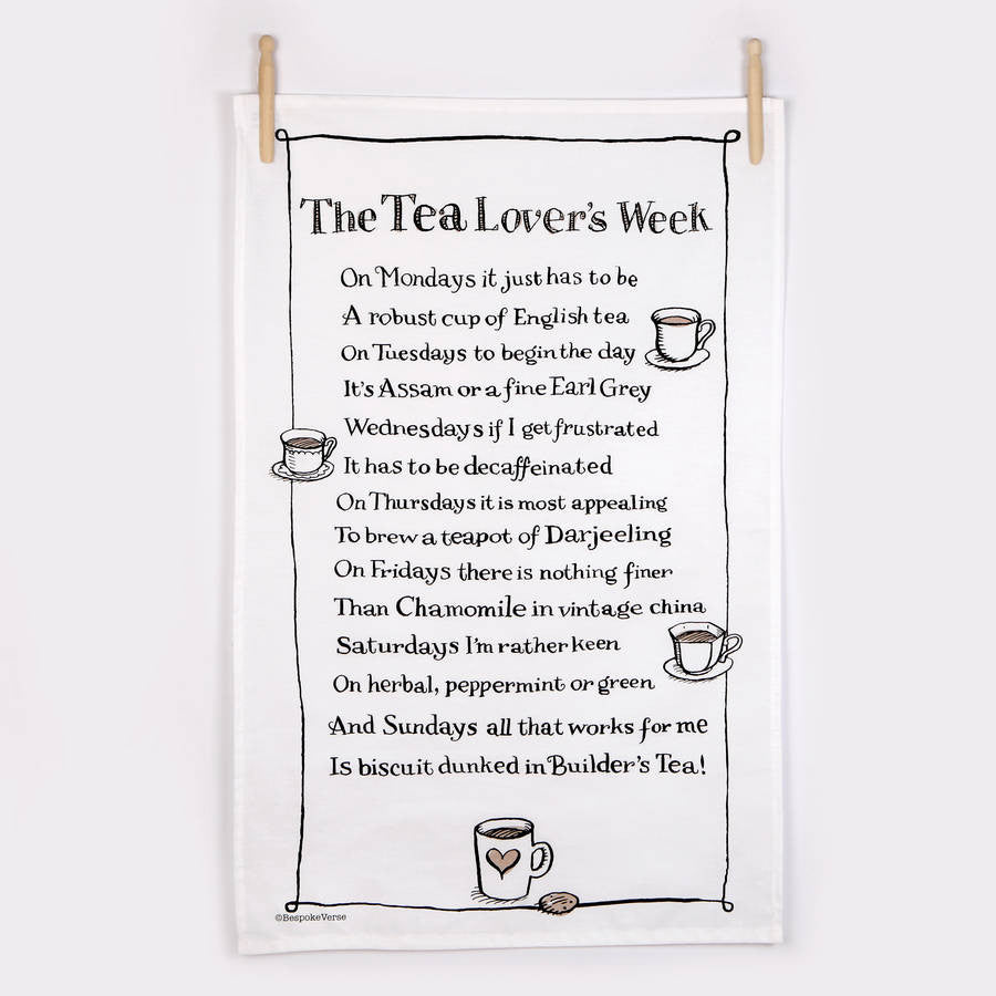 The Tea Lovers Week Poem Tea Towel