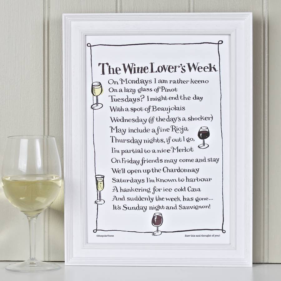 'The Wine Lover's Week' Poem Print