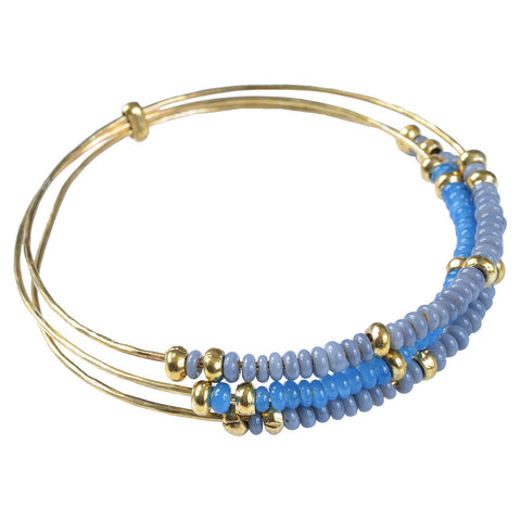 Blue Recycled Glass Trilogy Bangle