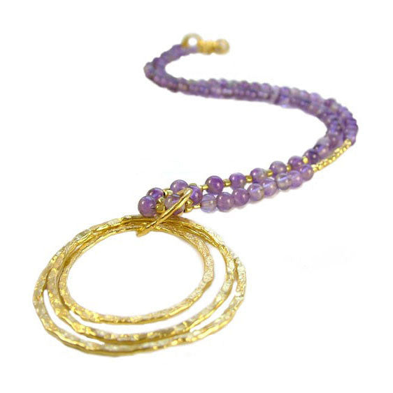 Triple Hoop Amethyst Necklace