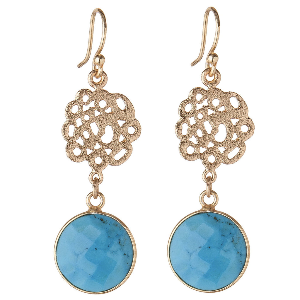 Cutwork & Turquoise Earrings