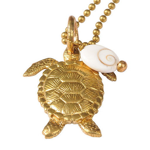 Turtle Pendant Necklace with Shell