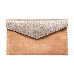 Silver Beaded Mid Brown Clutch Bag