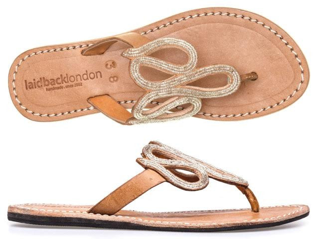 Silver Mid Brown Beaded Fletch Flat Leather Sandals