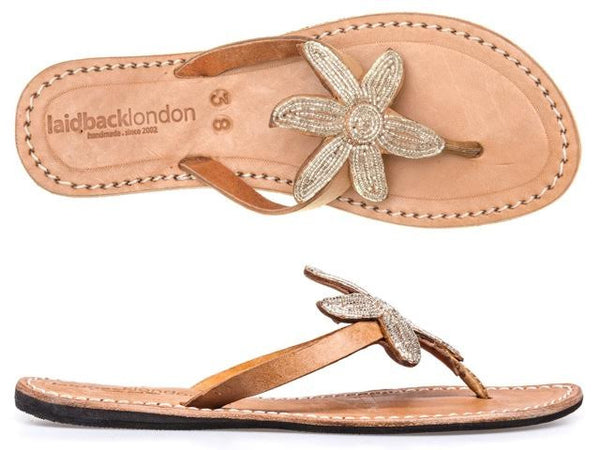 Silver Mid Brown Beaded Sanaa Flat Sandals