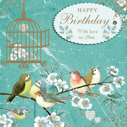 Vintage Birds Happy Birthday