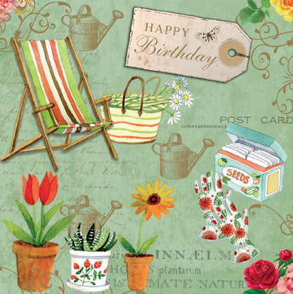 Vintage Gardening Happy Birthday