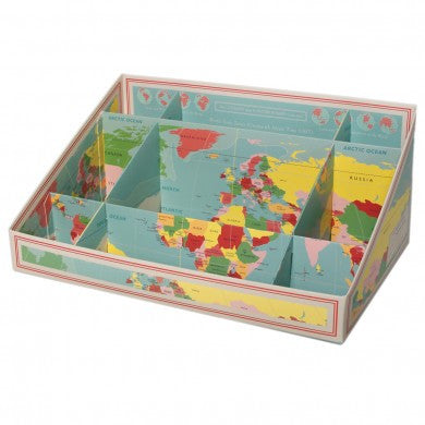 Vintage World Map Desk Tidy