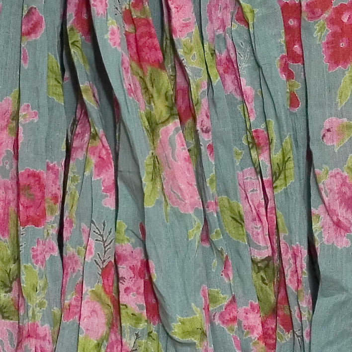 Sea Green Rose Printed Long Kimono