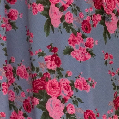 Smoky Blue Rose Print Fabric