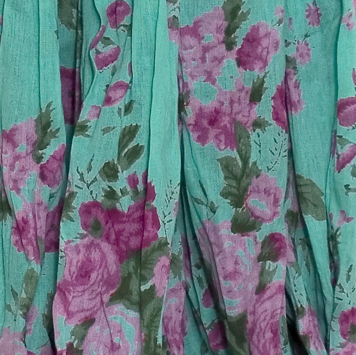 Turquoise Rose Print Fabric
