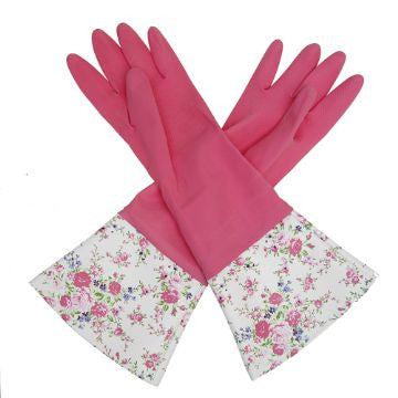 Vintage Pink Rose Washing Up Gloves