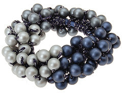 Hand Beaded Navy Pearl Hair Tie