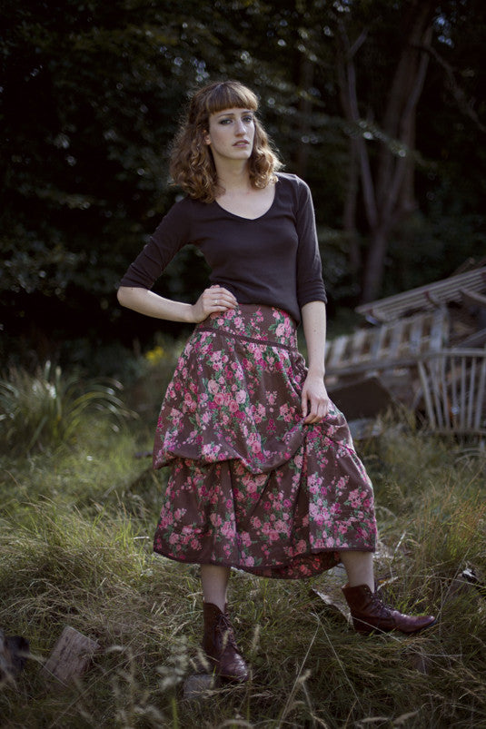Smoky Blue Vintage Rose Freda Pocket Skirt