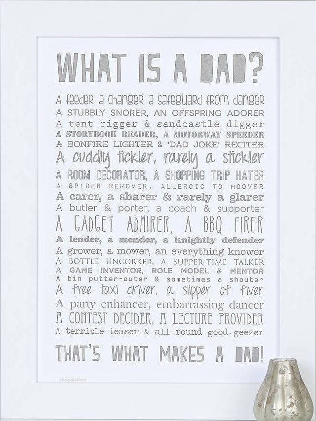 'What Is A Dad?' Poem Print