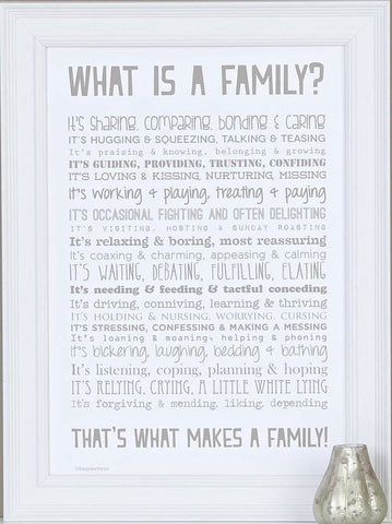 'What Is A Family?' Poem Print