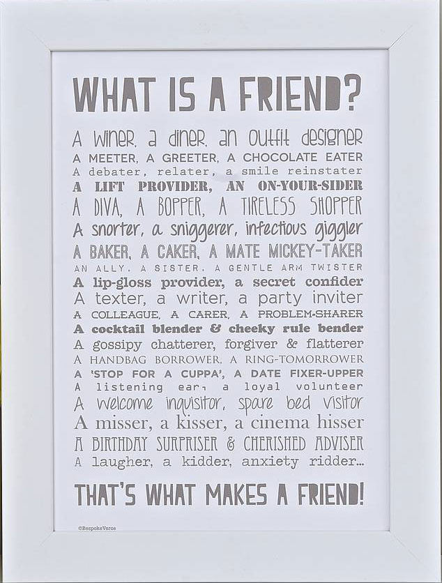 'What Is A Friend?' Poem Print
