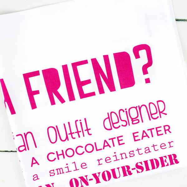 What is a Friend Poem Tea Towel